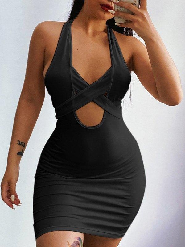 Criss Cross Halter Bodycon Mini Dress - Black S