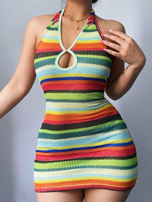 Striped Cutout Halter Knit Mini Dress -  L