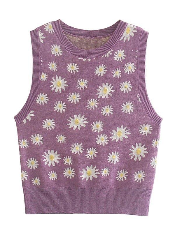 Daisy Jacquard Knit Crop Tank Top - Lavender S