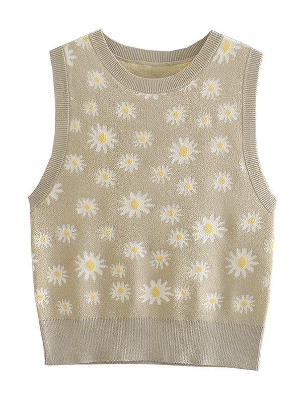 Daisy Jacquard Knit Crop Tank Top - Gray S