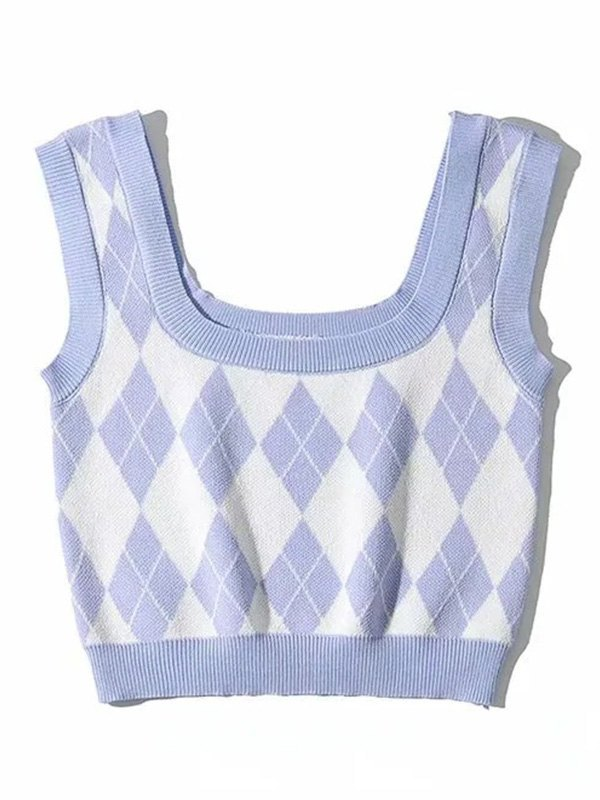 Argyle Vintage Knit Crop Tank Top - Blue S