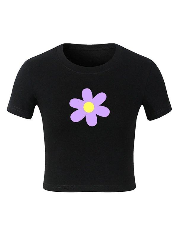 Short Sleeve Flower Crop Top - Black S