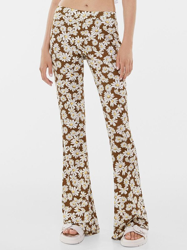 Daisy Print Flare Leg Pants - As The Picture S