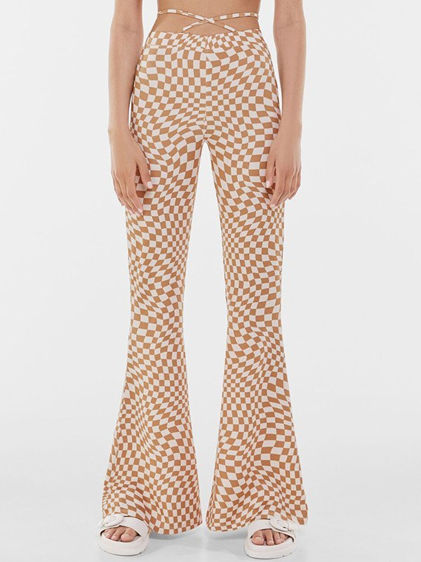 Criss Cross Checkered Print Flare Leg Pants - As The Picture M