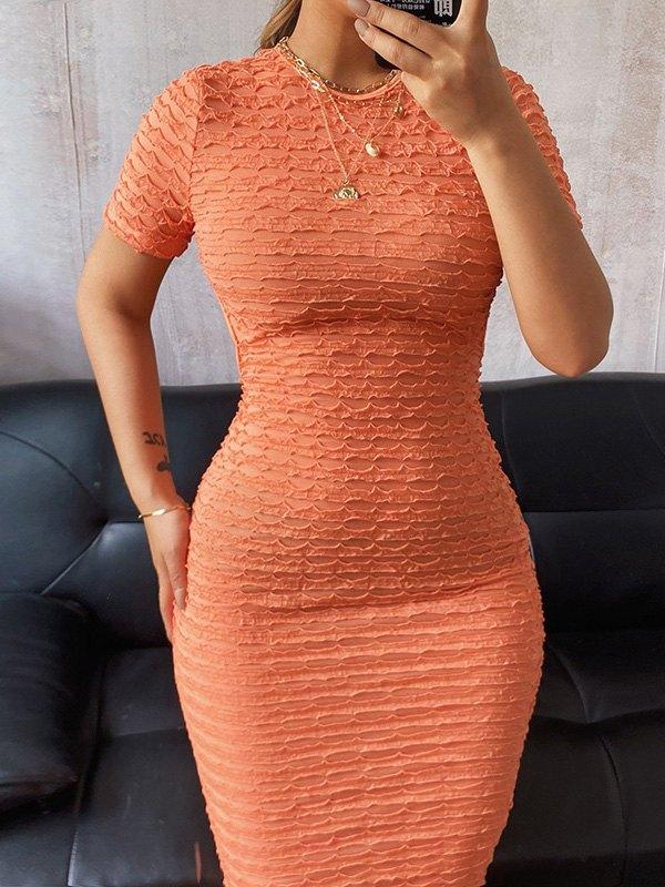 Open Back Jacquard Knit Maxi Dress - Orange S