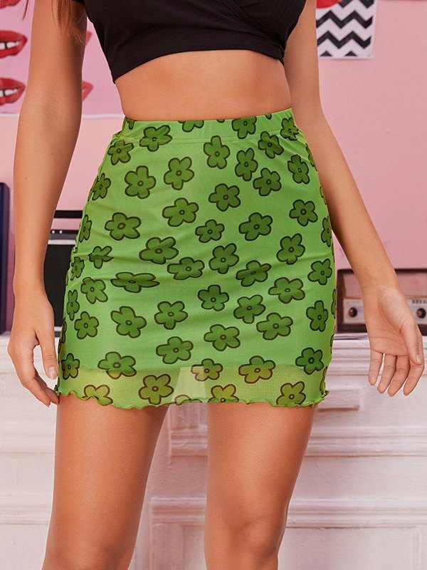 Mesh Floral Mini Skirt - Green L