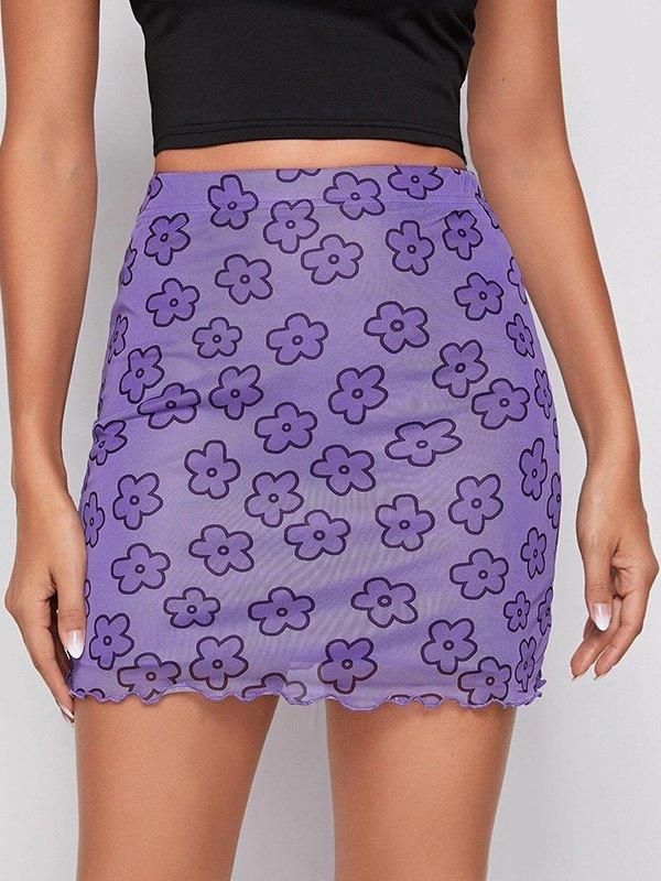 Mesh Floral Mini Skirt - Lavender S
