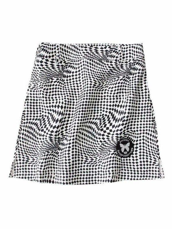 Checkered Print Slit Mini Skirt - Black L