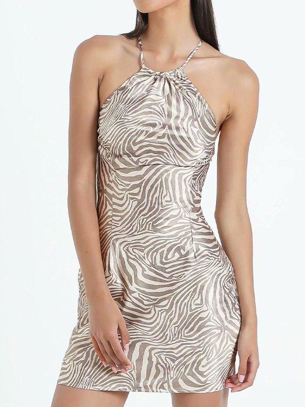 Cross Back Zebra Stripe Mini Dress - As The Picture L