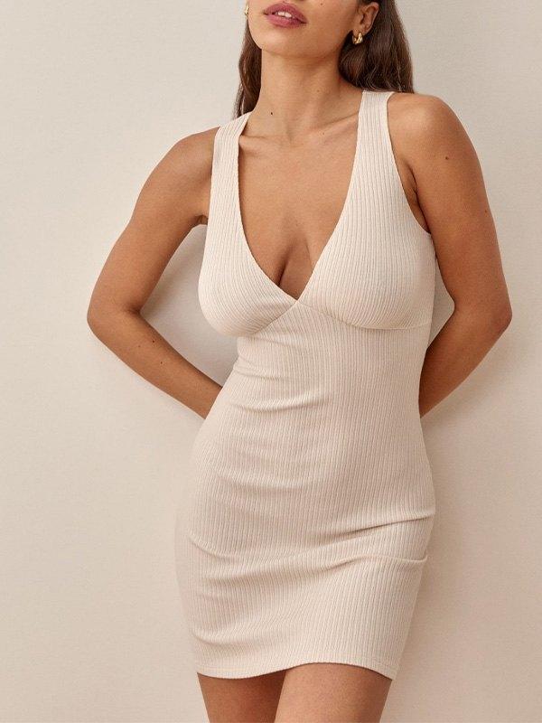 Open Back Rib Mini Dress - Khaki S