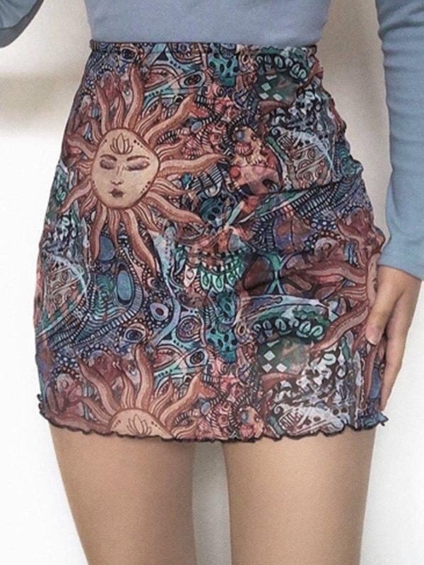 Mixed Print Mesh Mini Skirt - Black S