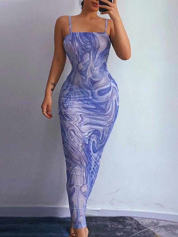 Open Back Swirly Mesh Maxi Dress - Purple S