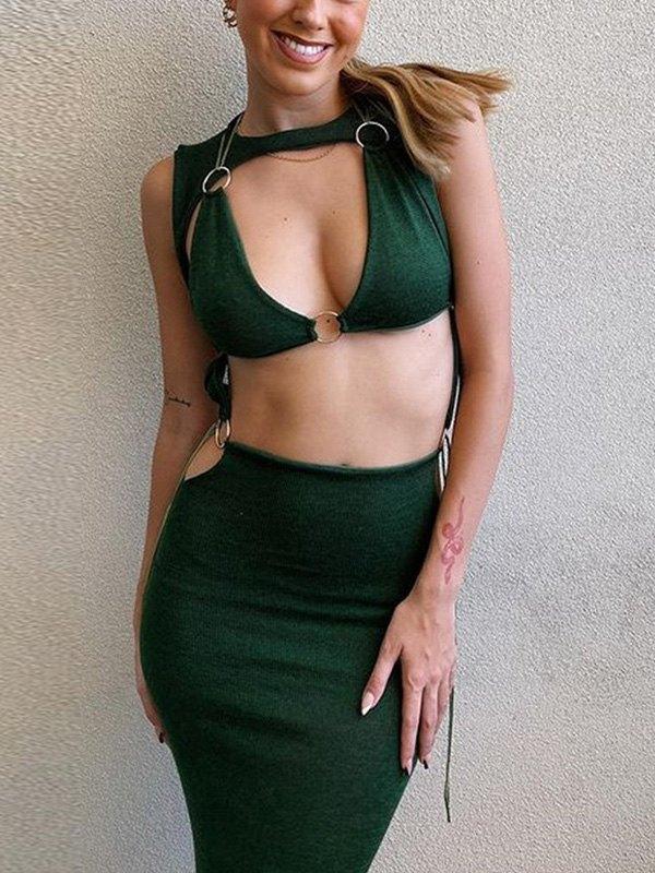 Cutout Bodycon Midi Dress - Green S