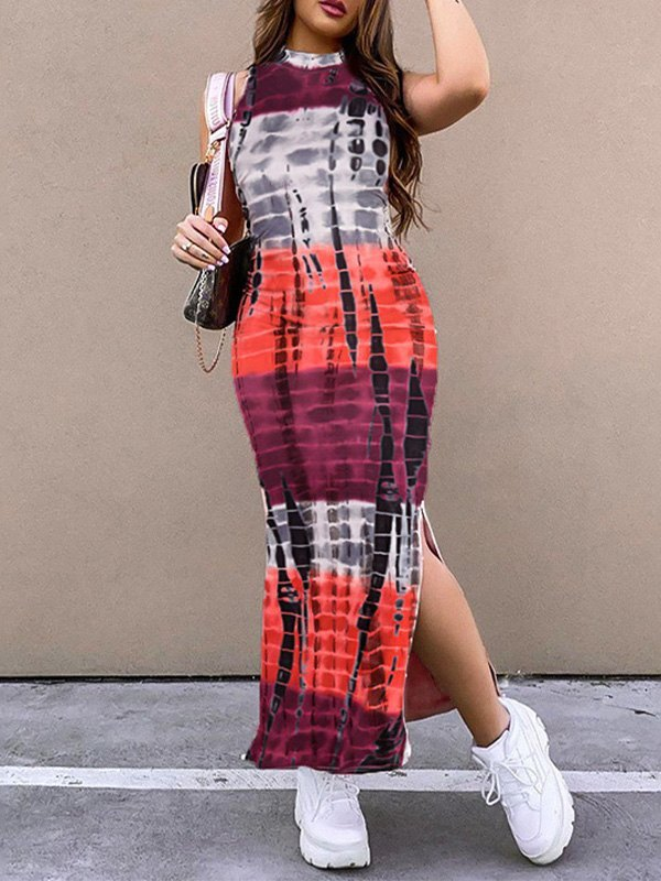 Printed Bodycon Slit Maxi Dress - As The Picture S