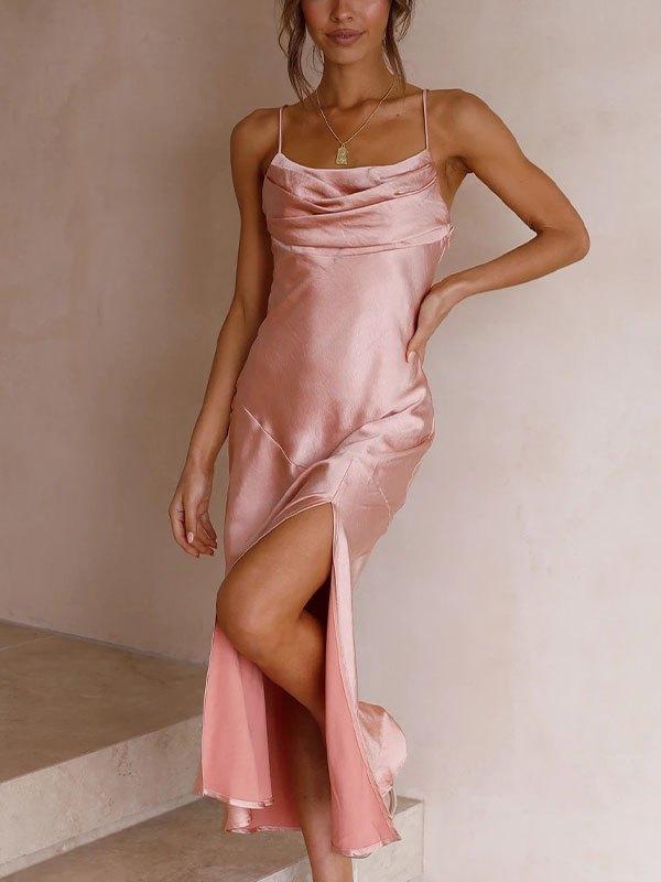 Backless Slit Maxi Dress - Pink S