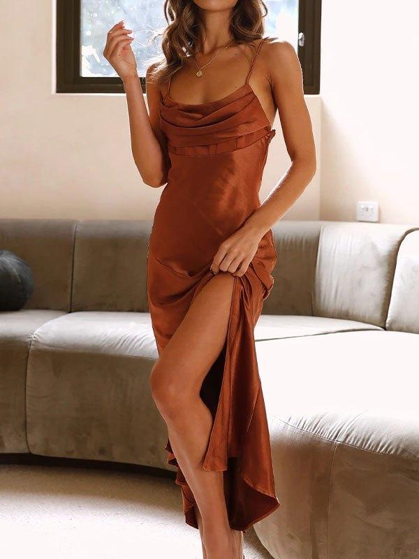 Backless Slit Maxi Dress - Brown S