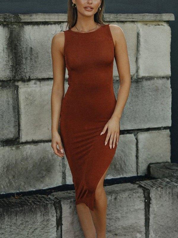 Backless Slit Midi Dress -