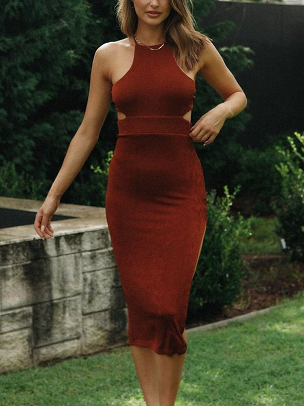 Backless Slit Bodycon Midi Dress - Brown S