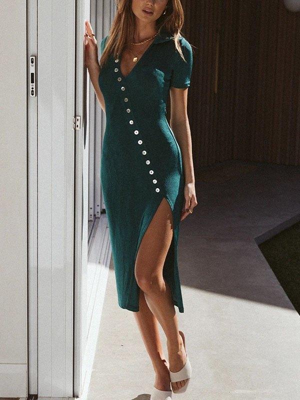 Button Embellished Slit Midi Dress - Green XL