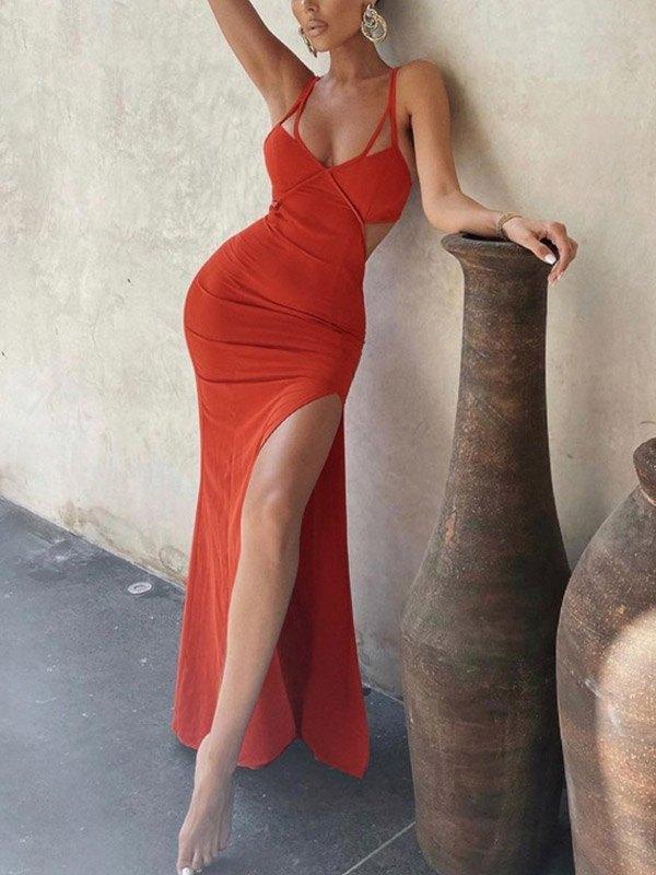Open Back Split Strappy Maxi Dress - Red S