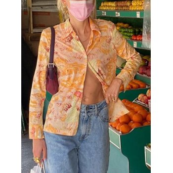 Blusa estampada de manga larga