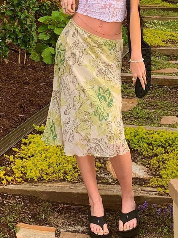 Woven Floral Print Midi Skirt -