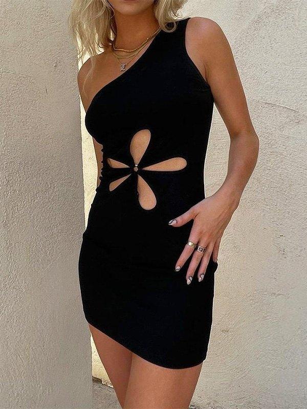 One Shoulder Cutout Floral Mini Dress -