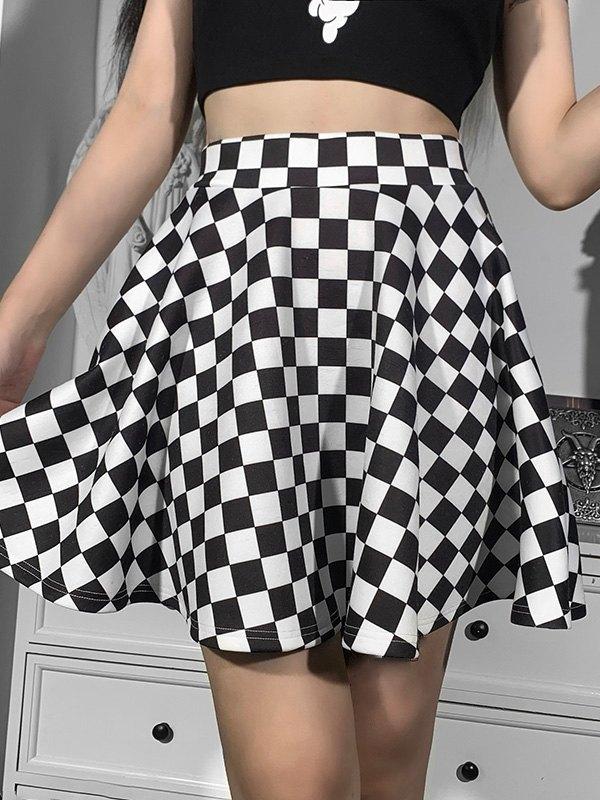 Checkered Print Skate Mini Skirt -
