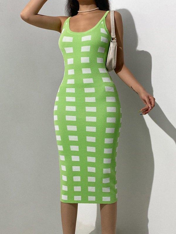Backless Woolen Checkered Maxi Dress - Black S