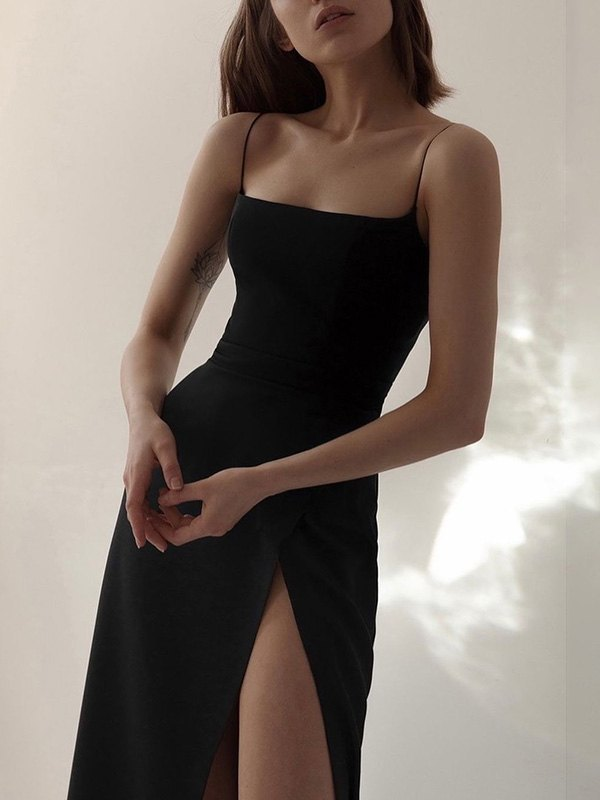 Split Slip Maxi Dress -