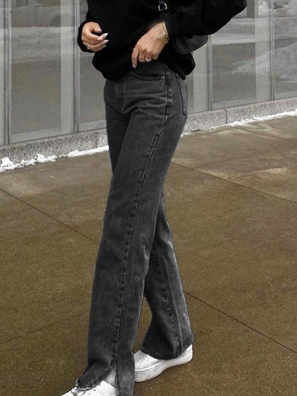 Washed Split Boyfriend Jeans -