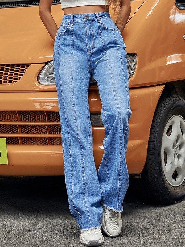 Distressed Splice Boyfriend Jeans -