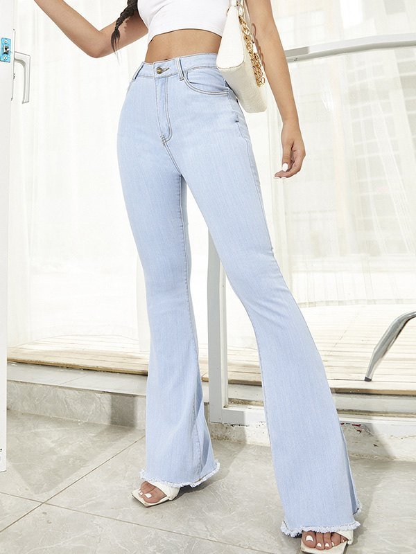 Washed Stretch Flare Jeans -