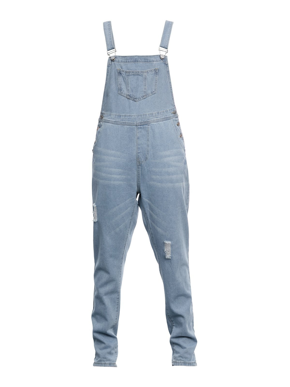 Washed Distressed Denim Overall -