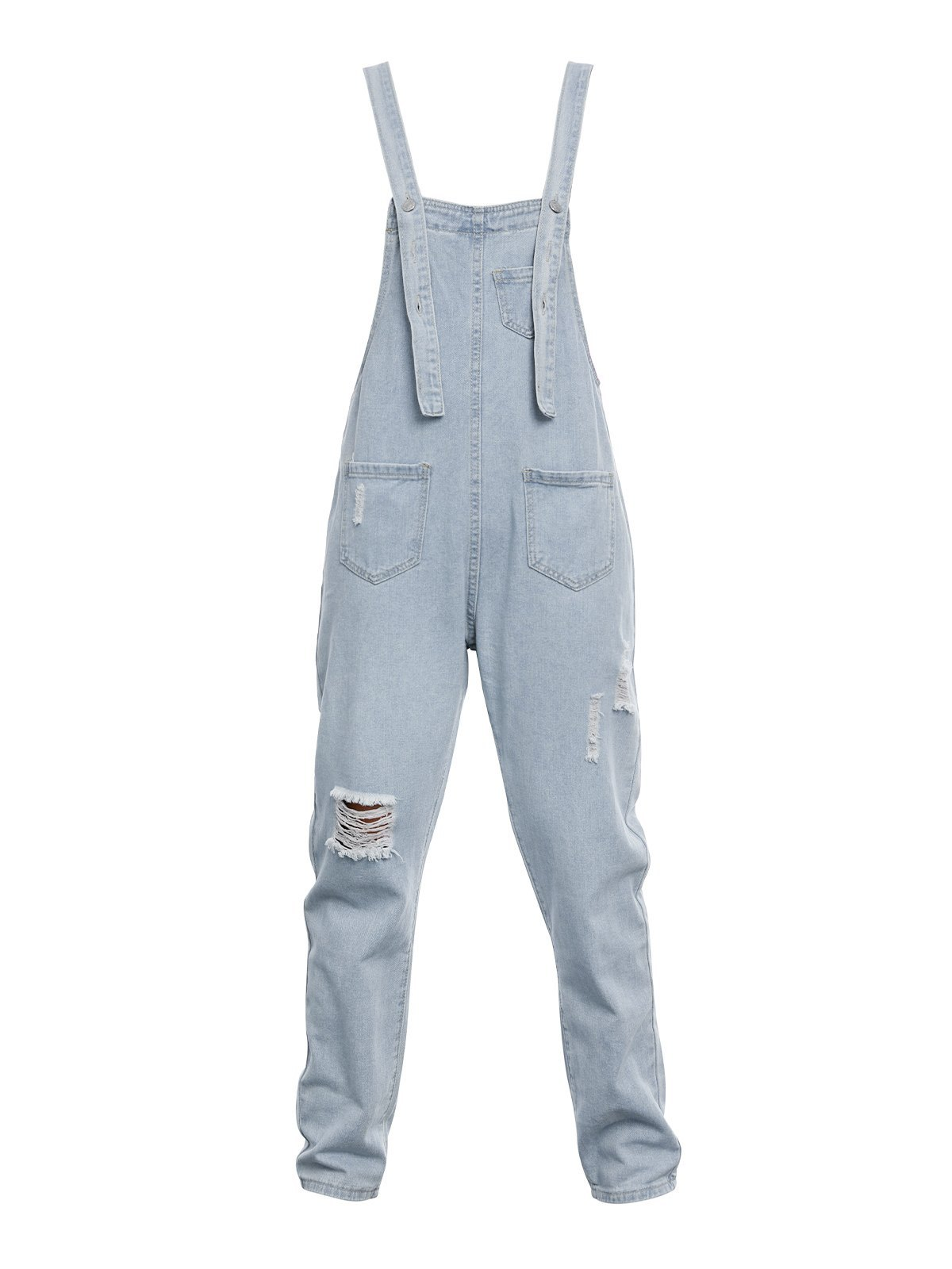 Denim Washed Ripped Overall -