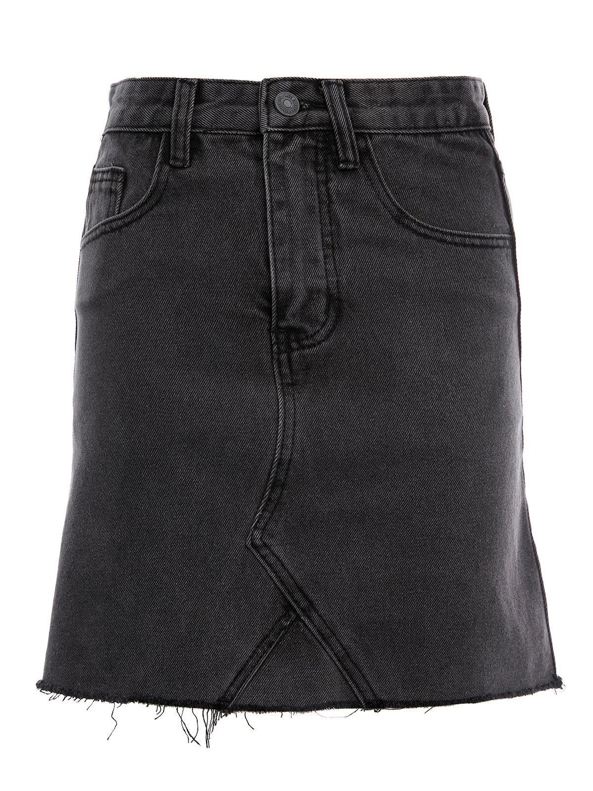 Washed Distressed Denim Mini Skirt -
