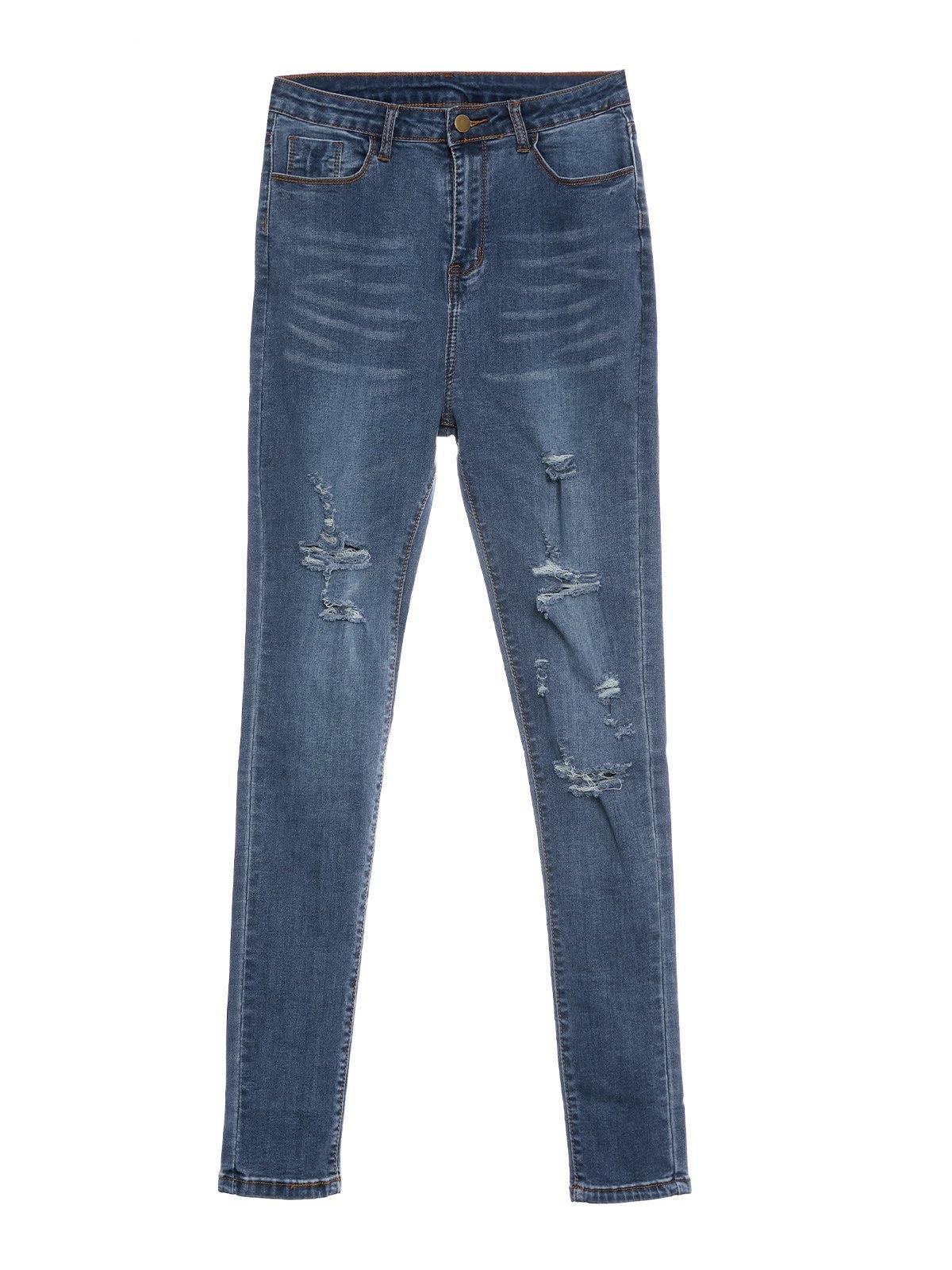 Stretch Skinny Ripped Jeans -
