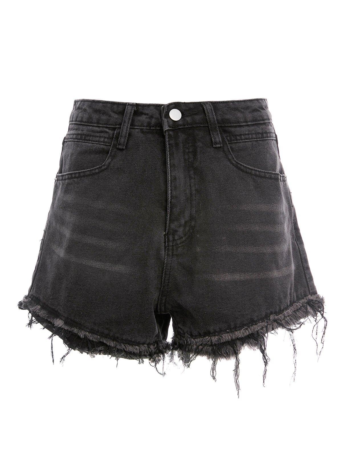 Distressed Hem Denim Shorts -