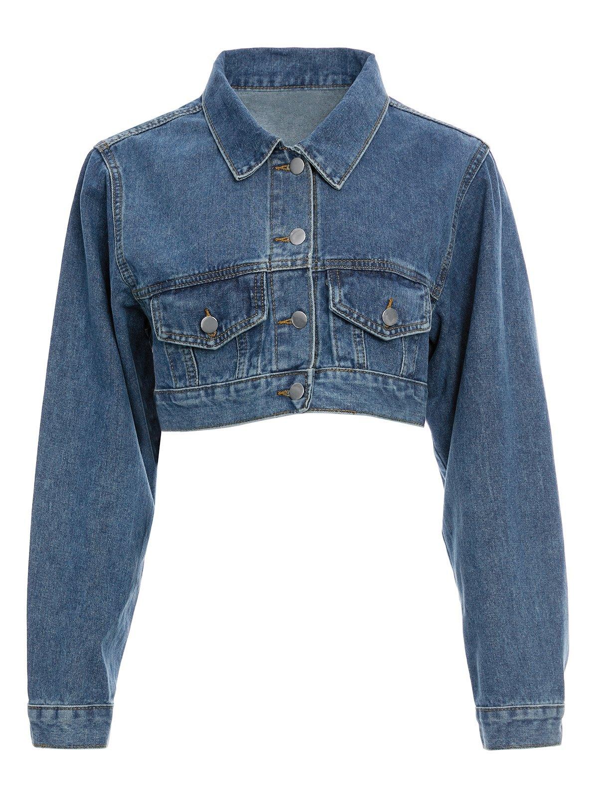 Classic Button Down Crop Denim Jacket -