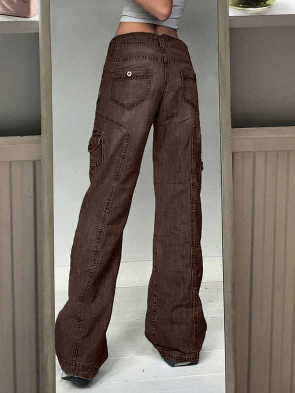 Bleached Pocket Cargo Jeans - Brown S