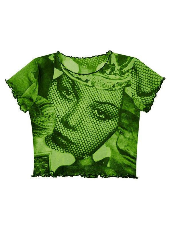 Mesh Face Print Crop Top -