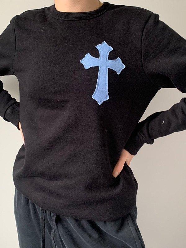 Cross Detail Crew Sweatshirt -