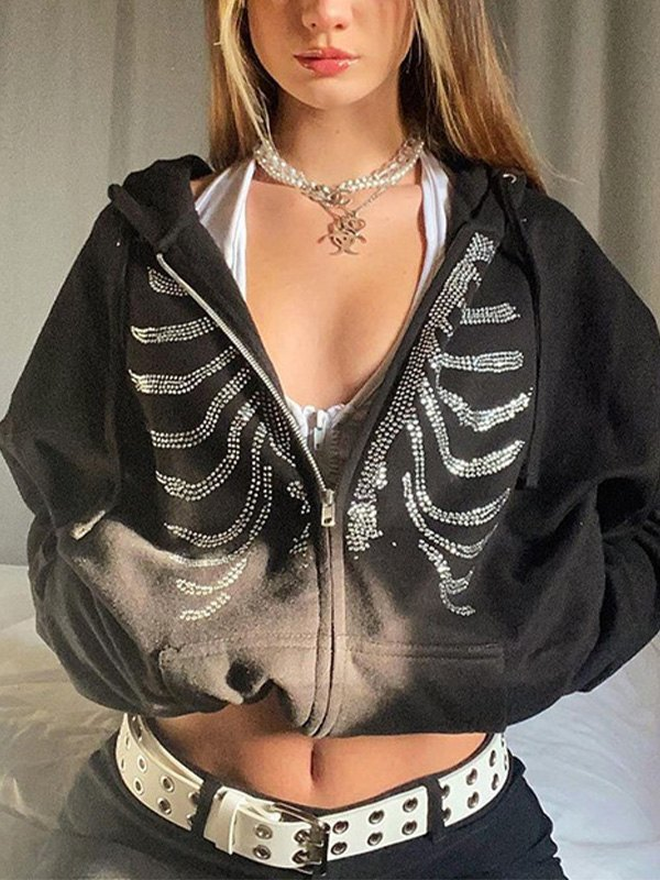 Rhinestone Skull Zipper Hoodie - Black M