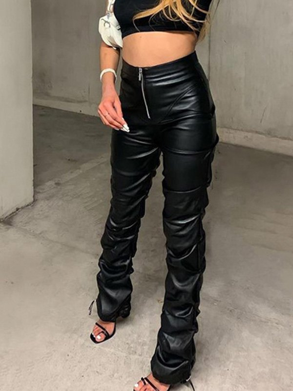 Stacked Pu Leather Pants -