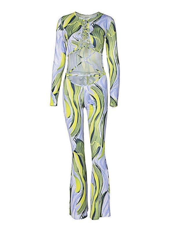 Cutout Long Sleeve Printed Jumpsuit -
