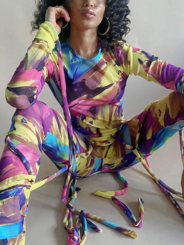 Splash Print Mesh Long Sleeve Set -