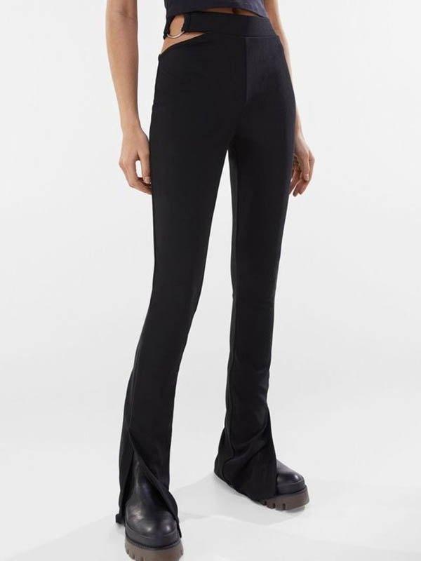 Knitted Cutout Slit Flare Leg Pants -