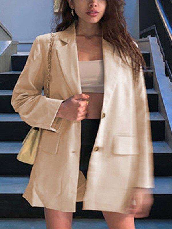 Button Long Sleeve Suit Blazer - Apricot M