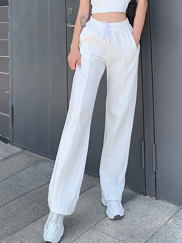 Pintuck Detail Straight Leg Pants -