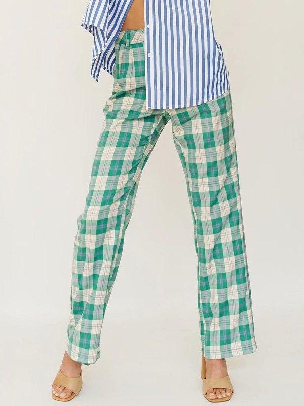 Preppy Checkered Print Straight Leg Pants -